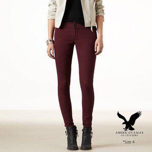 American Eagle Skinny Stretch Burgundy Pants 4